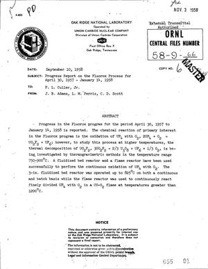 Primary view of object titled 'PROGRESS REPORT ON THE FLUOROX PROCESS FOR APRIL 30, 1957-JANUARY 14, 1958'.