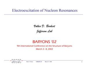 Primary view of object titled 'Electroexcitation of Nucleon Resonances'.
