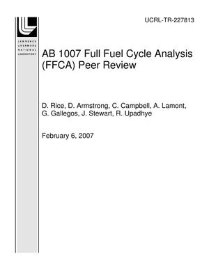 Primary view of object titled 'AB 1007 Full Fuel Cycle Analysis (FFCA) Peer Review'.