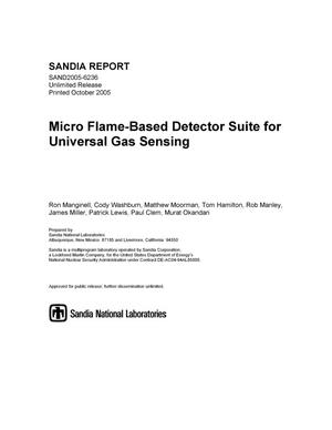 Primary view of object titled 'Micro flame-based detector suite for universal gas sensing.'.