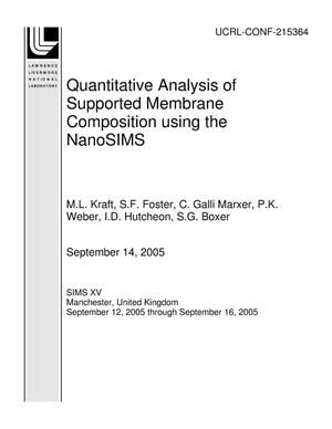 Primary view of object titled 'Quantitative Analysis of Supported Membrane Composition using the NanoSIMS'.