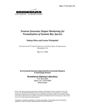 Primary view of object titled 'NEUTRON GENERATOR OUTPUT MONITORING FOR NORMALIZATION OF GAMMA-RAY SPECTRA.'.