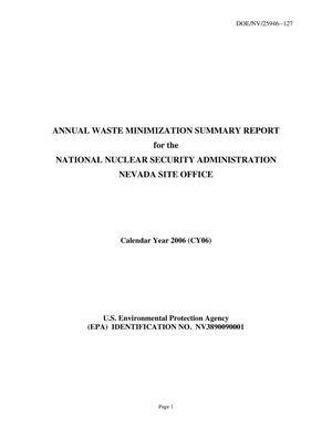 Primary view of object titled 'Annual Waste Minimization Summary Report'.
