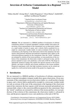 Primary view of object titled 'Inversion of Airborne Contaminants in a Regional Model'.