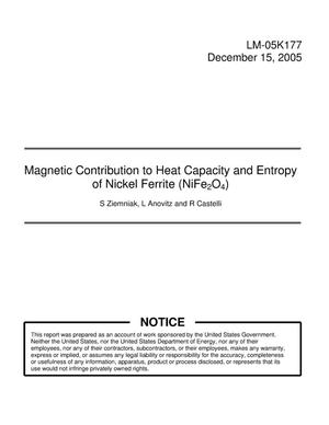 Primary view of object titled 'Magnetic Contribution to Heat Capacity and Entropy of Nicke Ferrite (NiFe2O4)'.