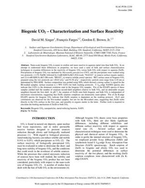 Primary view of object titled 'Biogenic UO_2 _ Characterization and Surface Reactivity'.
