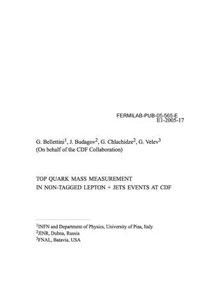 Primary view of object titled 'Top quark mass measurement in non-tagged lepton + jets events at CDF'.