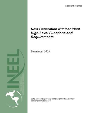 Primary view of object titled 'New Generation Nuclear Plant -- High Level Functions and Requirements'.