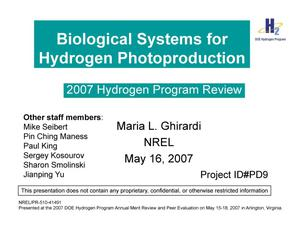 Primary view of object titled 'Biological Systems for Hydrogen Photoproduction (Presentation)'.