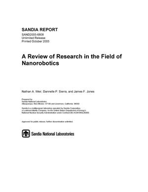 Primary view of object titled 'A review of research in the field of nanorobotics.'.