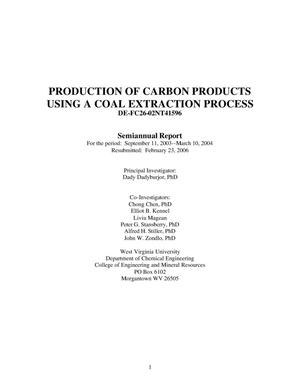 Primary view of object titled 'PRODUCTION OF CARBON PRODUCTS USING A COAL EXTRACTION PROCESS'.