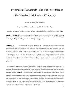 Primary view of object titled 'Preparation of Asymmetric Nanostructures through Site SelectiveModification of Tetrapods'.