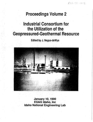Primary view of object titled 'Industrial Consortium for the Utilization of the Geopressured-Geothermal Resource. Volume 2'.