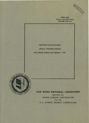 Primary view of object titled 'NEUTRON PHYSICS DIVISION ANNUAL PROGRESS REPORT FOR PERIOD ENDING SEPTEMBER 1, 1959'.