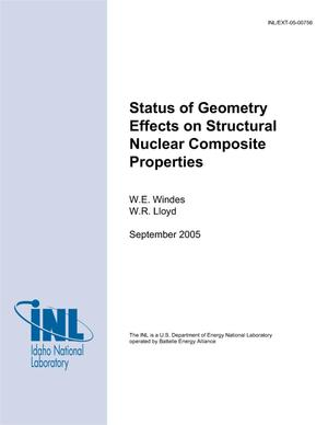 Primary view of object titled 'Status of geometry effects on structural nuclear composite properties'.