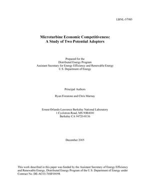 Primary view of object titled 'Microturbine Economic Competitiveness: A Study of Two PotentialAdopters'.