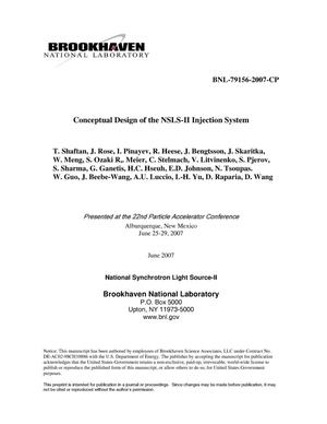 Primary view of object titled 'CONCEPTUAL DESIGN OF THE NSLS-II INJECTION SYSTEM.'.
