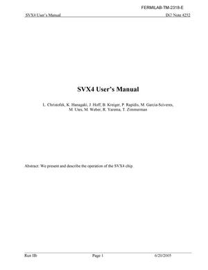 Primary view of object titled 'SVX4 User's manual'.