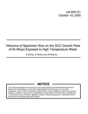 Primary view of object titled 'Influence of Specimen Size on the SCC Growth Rate of Ni-Alloys Exposed to High Temperature Water'.