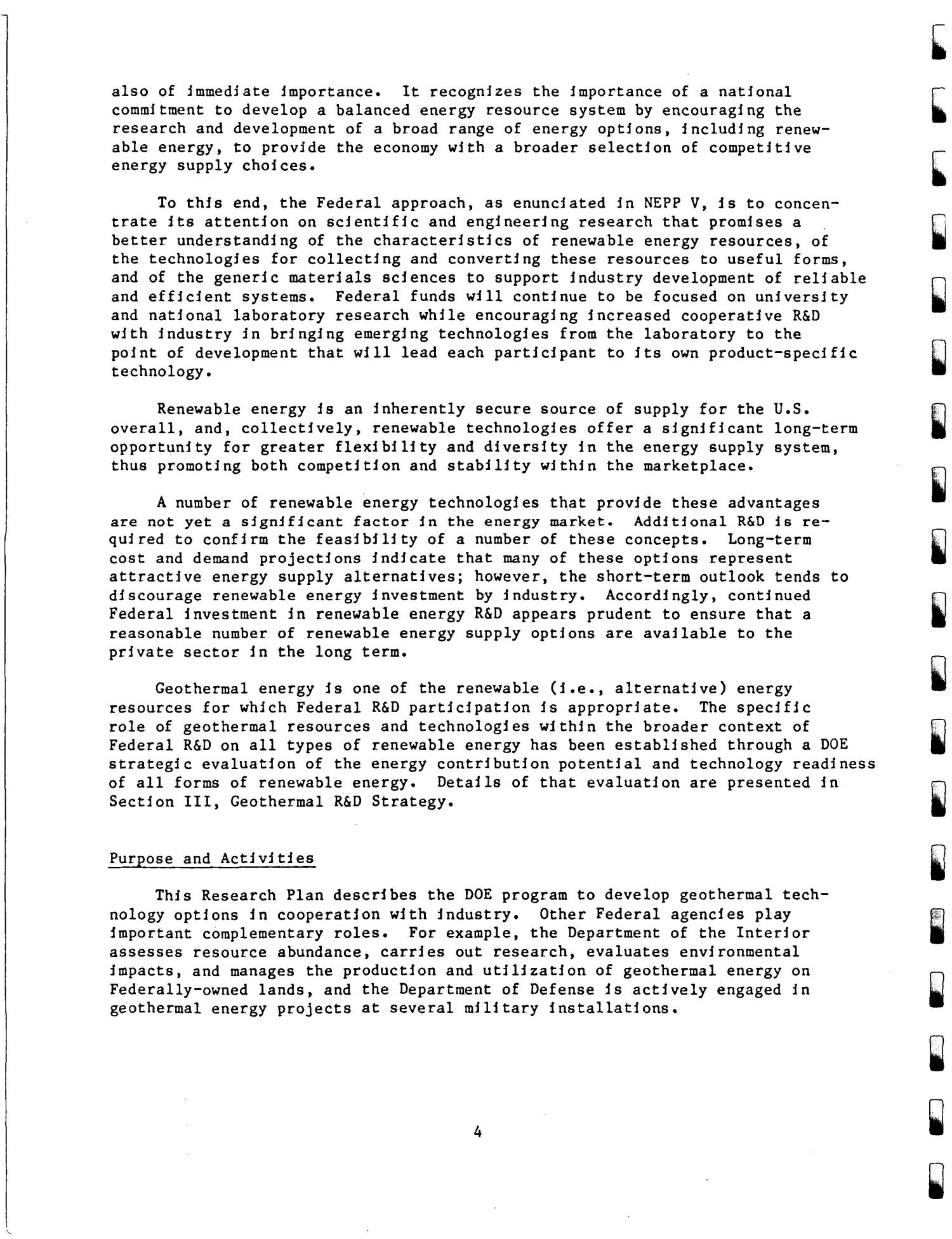 U.S Geothermal Energy Program five year research plan, 1986--1990. Draft of July 1986                                                                                                      [Sequence #]: 11 of 82