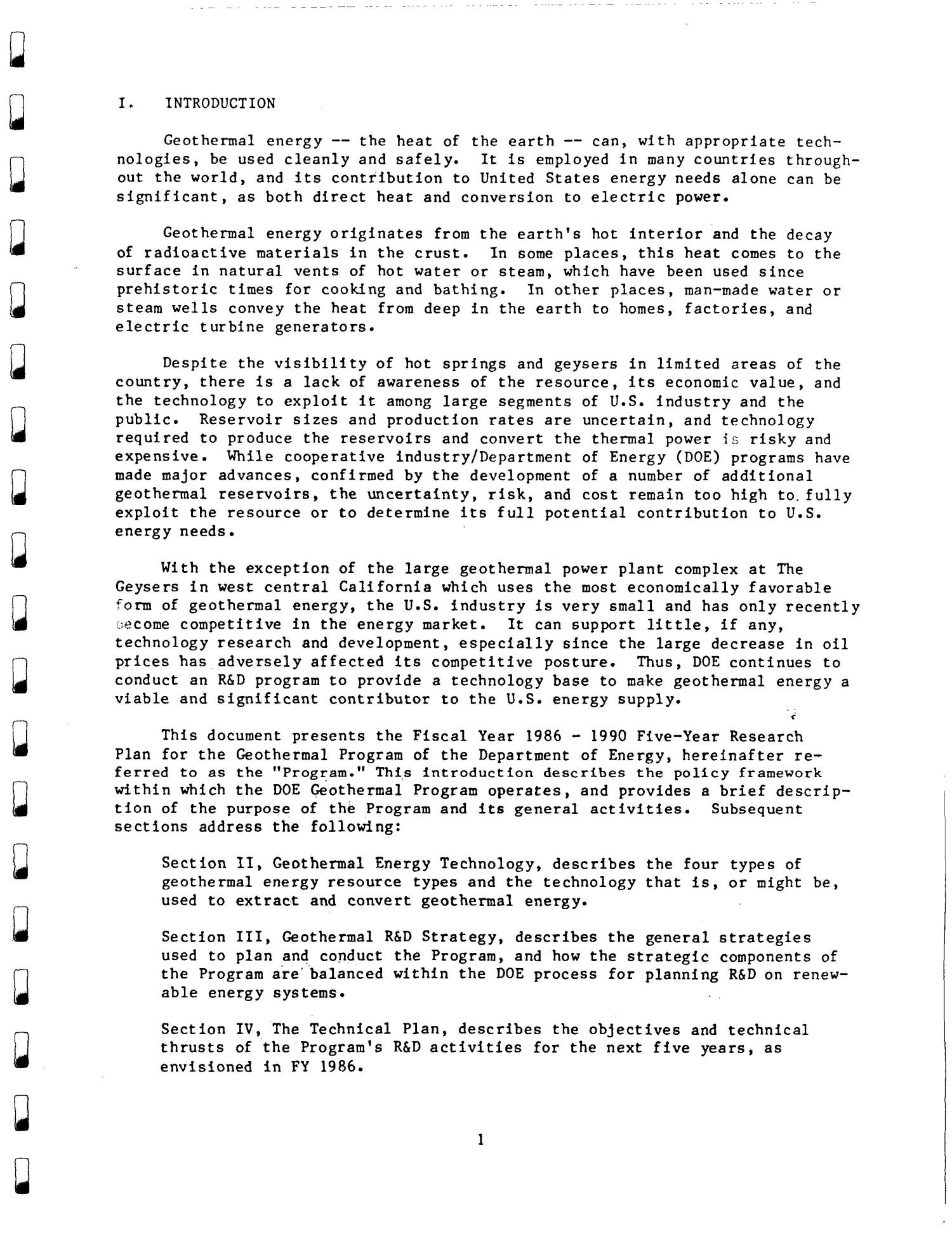 U.S Geothermal Energy Program five year research plan, 1986--1990. Draft of July 1986                                                                                                      [Sequence #]: 8 of 82