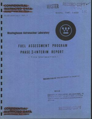 Primary view of object titled 'Fuel assessment program, phase I: interim report'.