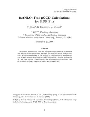 Primary view of object titled 'FastNLO: Fast pQCD calculations for PDF fits'.