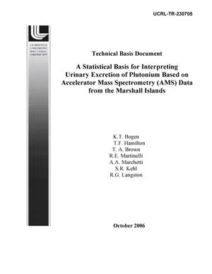 Primary view of object titled 'Technical Basis Document: A Statistical Basis for Interpreting Urinary Excretion of Plutonium Based on Accelerator Mass Spectrometry (AMS) for Selected Atoll Populations in the Marshall Islands'.