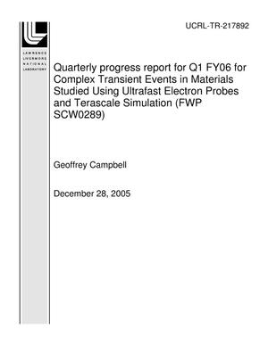 Primary view of object titled 'Quarterly progress report for Q1 FY06 for Complex Transient Events in Materials Studied Using Ultrafast Electron Probes and Terascale Simulation (FWP SCW0289)'.