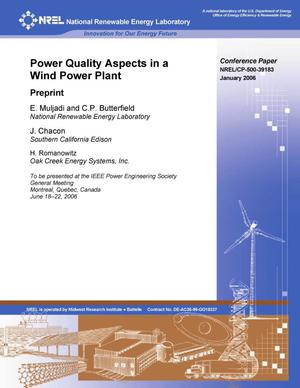 Primary view of object titled 'Power Quality Aspects in a Wind Power Plant: Preprint'.