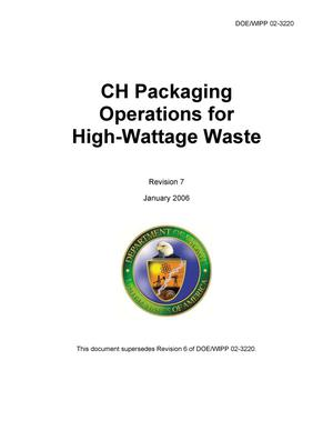 Primary view of object titled 'CH Packaging Operations for High Wattage Waste'.