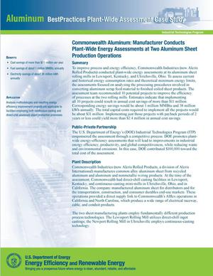 Primary view of object titled 'Commonwealth Aluminum: Manufacturer Conducts Plant-Wide Energy Assessments at Two Aluminum Sheet Production Operations;'.