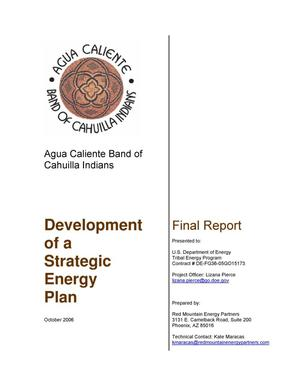 Primary view of object titled 'Final Report - Development of a Strategic Energy Plan'.
