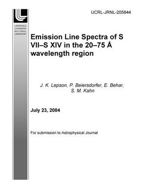 Primary view of object titled 'Emission line spectra of S VII ? S XIV in the 20 ? 75 ? wavelength region'.