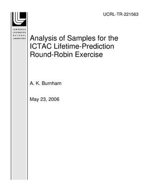 Primary view of object titled 'Analysis of Samples for the ICTAC Lifetime-Prediction Round-Robin Exercise'.