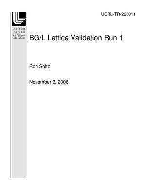 Primary view of object titled 'BG/L Lattice Validation Run 1'.