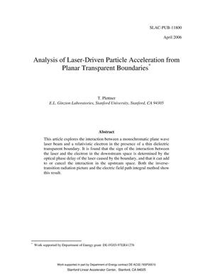 Primary view of object titled 'Analysis of Laser-Driven Particle Acceleration fromPlanar Transparent Boundaries'.