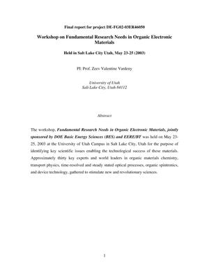 Primary view of object titled 'Workshop on Fundamental Research Needs in Organic Electronic Materials (May 23-25, 2003)'.
