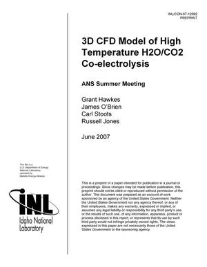 Primary view of object titled '3D CFD Model of High Temperature H2O/CO2 Co-electrolysis'.