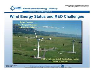 Primary view of object titled 'Wind Energy Status and R&D Challenges'.