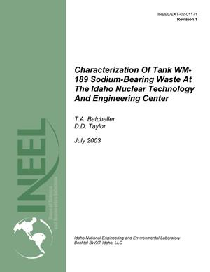 Primary view of object titled 'Characterization of Tank WM-189 Sodium-bearing Waste at INTEC, Rev. 1'.