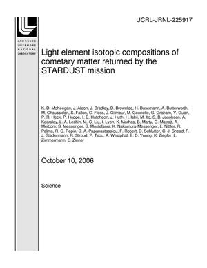 Primary view of object titled 'Light element isotopic compositions of cometary matter returned by the STARDUST mission'.