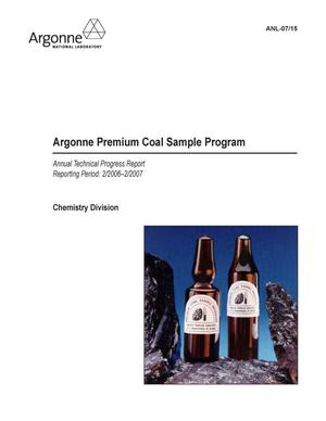 Primary view of object titled 'Argonne premium coal sample program. Annual technical progress report. Reporting period : 2/2006-2/2007.'.