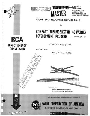 Primary view of object titled 'Compact thermoelectric converter development program. Quarterly progress report No. 2 for the period April 1, 1966--June 30, 1966'.