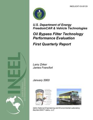 Primary view of object titled 'Oil Bypass Filter Technology Performance Evaluation - January 2003 Quarterly Report'.