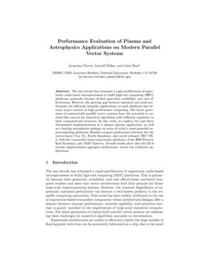 Primary view of object titled 'Performance Evaluation of Plasma and Astrophysics Applications onModern Parallel Vector Systems'.