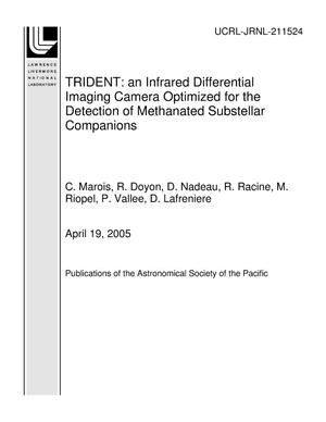 Primary view of object titled 'TRIDENT: an Infrared Differential Imaging Camera Optimized for the Detection of Methanated Substellar Companions'.