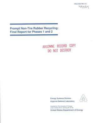 Primary view of object titled 'Prompt non-tire rubber recycling : final report for phases 1 and 2.'.