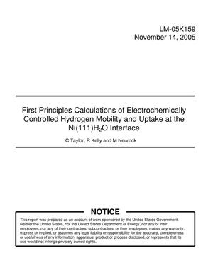 Primary view of object titled 'First Principles Calculations of Electrochemically Controlled Hydrogen Mobility and Uptake at the Ni(111)H2O Interface'.