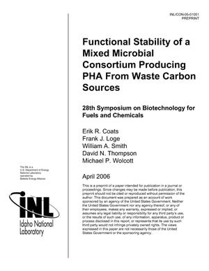 Primary view of object titled 'Functional Stability of a Mixed Microbial Consortium Producing PHA From Waste Carbon Sources'.